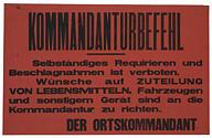 Affiche émanant des autorités allemandes cocnernant toutes espèces de réquisition © AN 72AJ/789