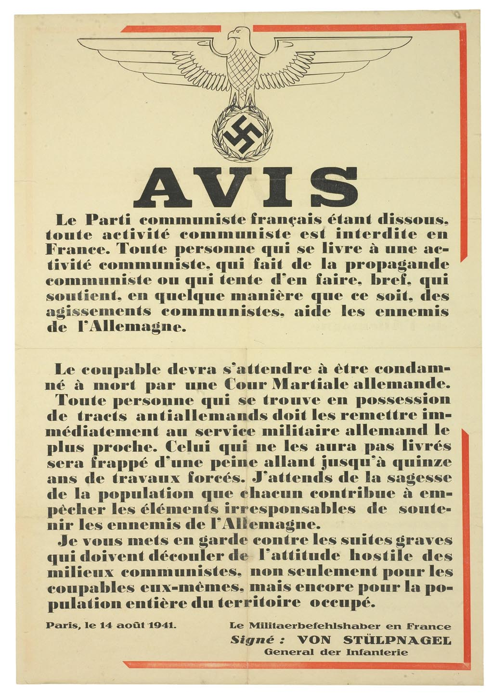 Affiche émanant du commandant militaire en France, concernant la dissolution du parti communiste et l'interdiction de toute activité communiste ou de soutien aux communistes © AN 72AJ/795