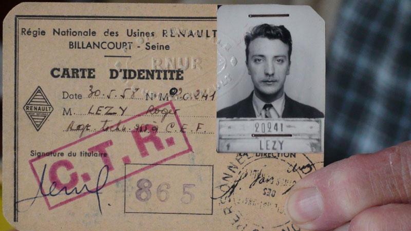 Carte d'identité de Roger Lézy et ci-contre, son père, Marcel, employé aux usines Renault de 1930 à 1964 © Famille Lézy - Droits réservés