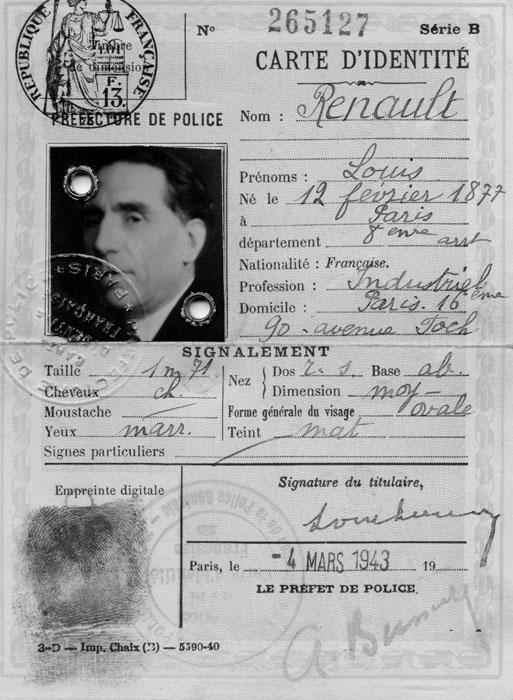 Carte d'identité de Louis Renault © APR