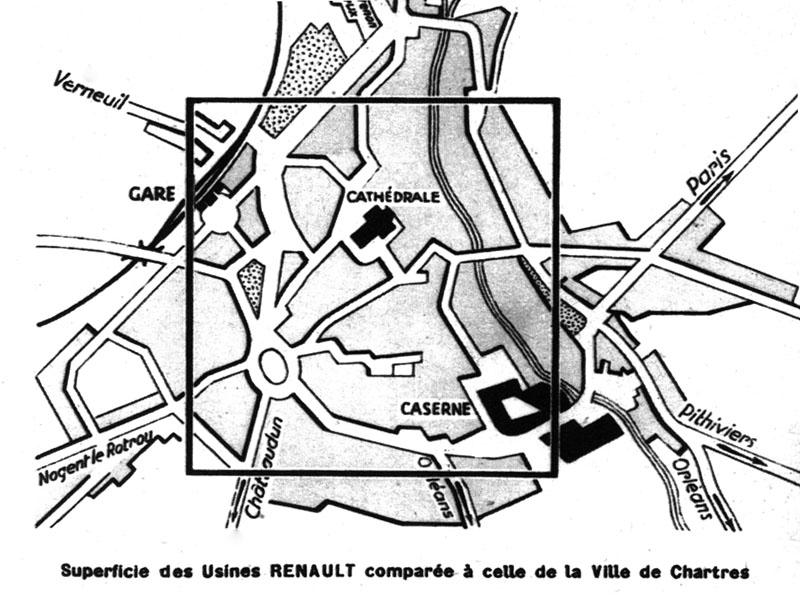 Comparaison entre les superficies de Chartres et de Billancourt © Renault Histoire