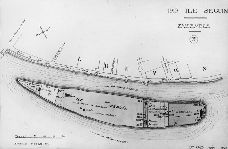 Plan de l'Île Seguin - 1919 © Renault Histoire