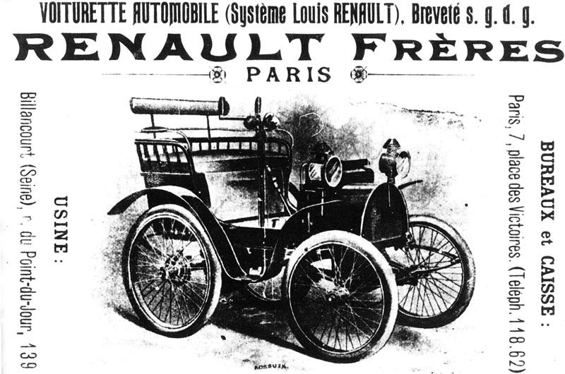 """Première publicité Renault. Journal """"Ta nature"""" du 9 septembre 1899 © Renault Histoire."""