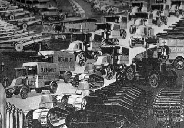 Figure 37 : Peinture murale des véhicules militaires Renault - 1919 © Renault communication / PHOTOGRAPHE INCONNU (PHOTOGRAPHER UNKNOWN) DROITS RESERVES