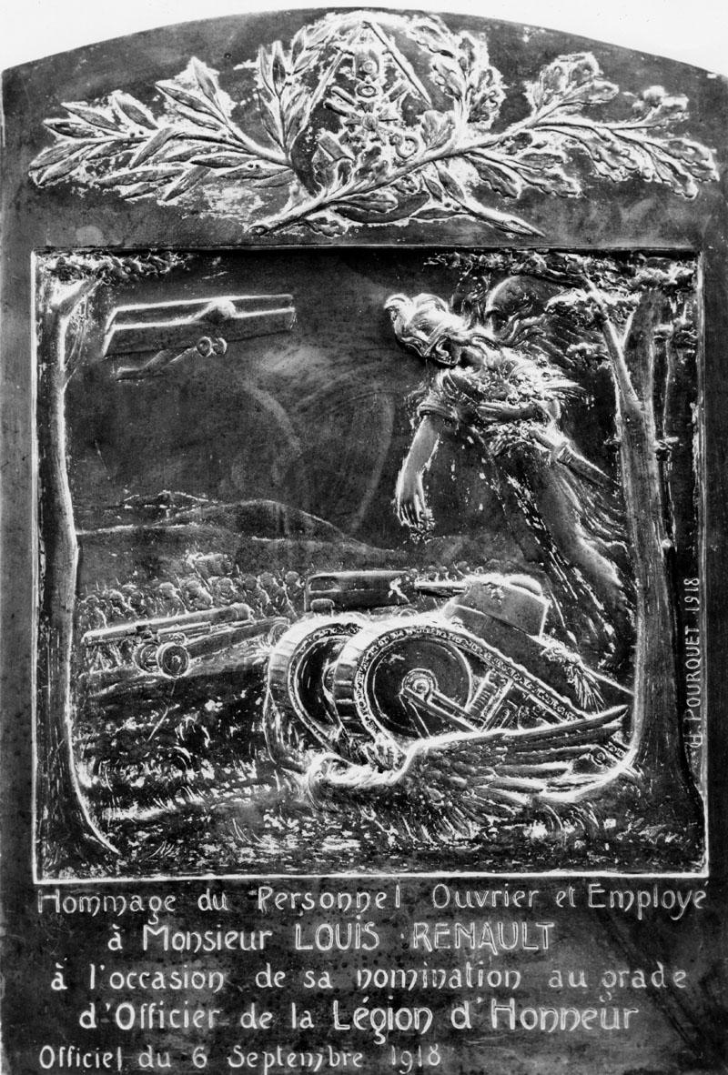 Hommage du personnel ouvrier et employé à Louis Renault - H. Pourquet - 1918 © APR/SHGR
