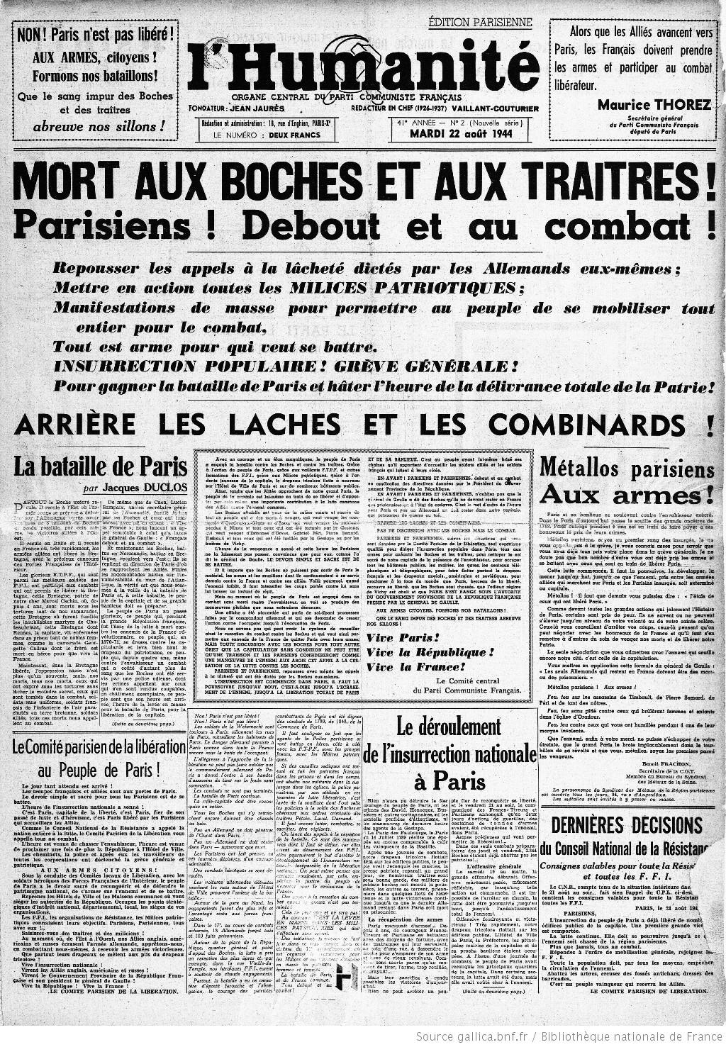 L'Humanité du 22 août 1944 © BNF