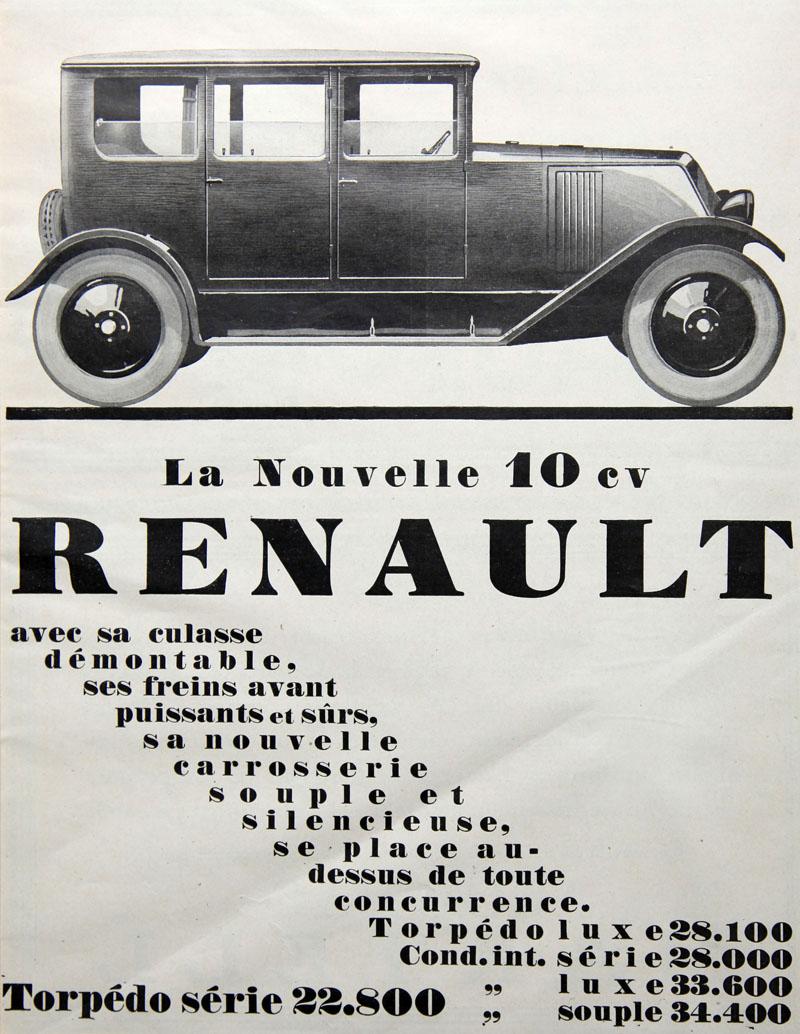 La nouvelle 10 cv Renault - 1926