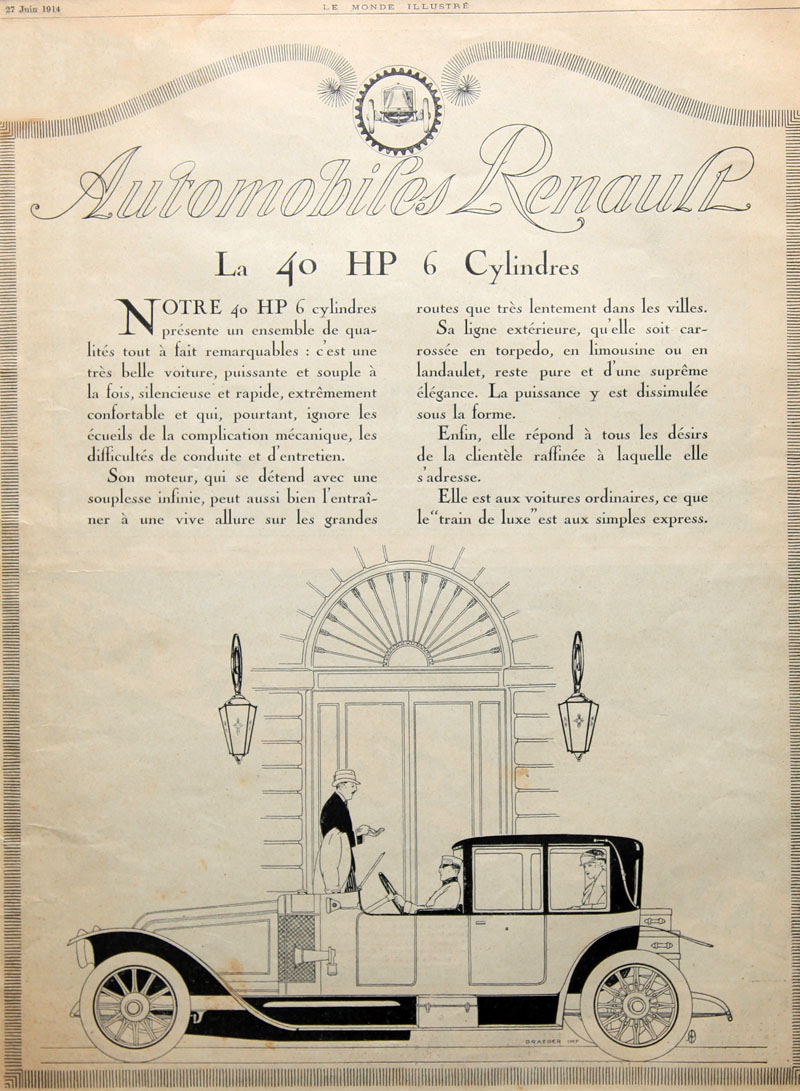 Automobiles Renault - la 40 HP 6 cylindres - Le Monde illustré 27 juin 1914