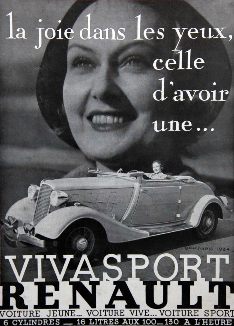 La joie dans les yeux celle d'avoir une... Vivasport Renault - 1934
