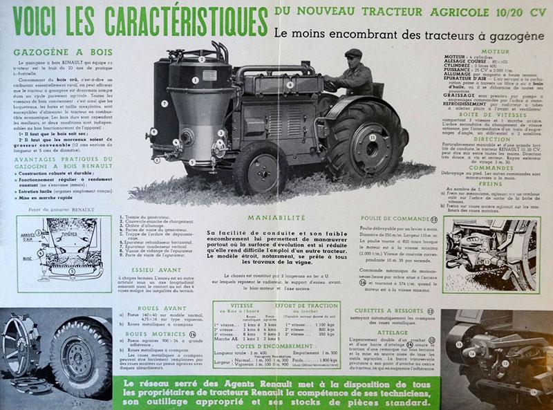 Le tracteur agricole Renault à gazogène © Archives de Crédit Agricole - Fonds du Crédit Lyonnais - DEEF 41087