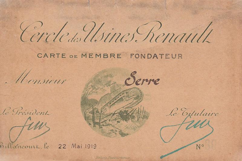 Carte de membre fondateur représentant le petit char de la Victoire - 1919 © Jacqueline Serre - Tous droits réservés