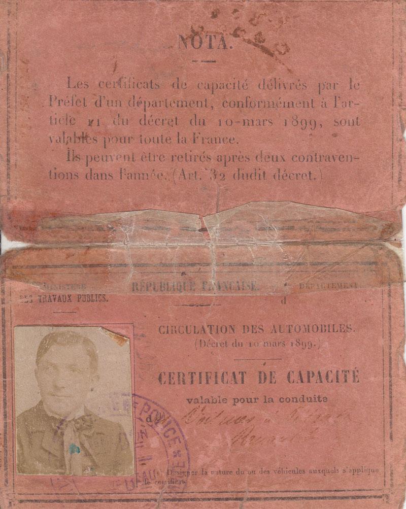 Certificat de capacité (Permis de conduire) de Charles-Edmond Serre - 1902 ? © Jacqueline Serre - Tous droits réservés