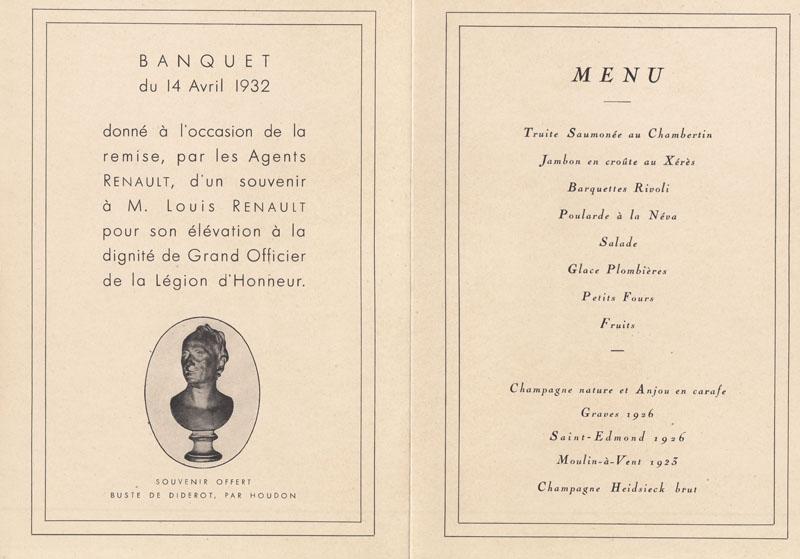 Plaquette réalisée lors de l'élévation de Louis Renault à la dignité de Grand Officier de la Légion d'Honneur - 1932 © Jacqueline Serre - Tous droits réservés